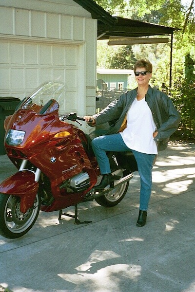 Sandy Abell with BMW bike