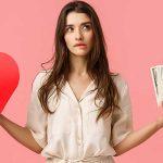 Woman decifding between love and money